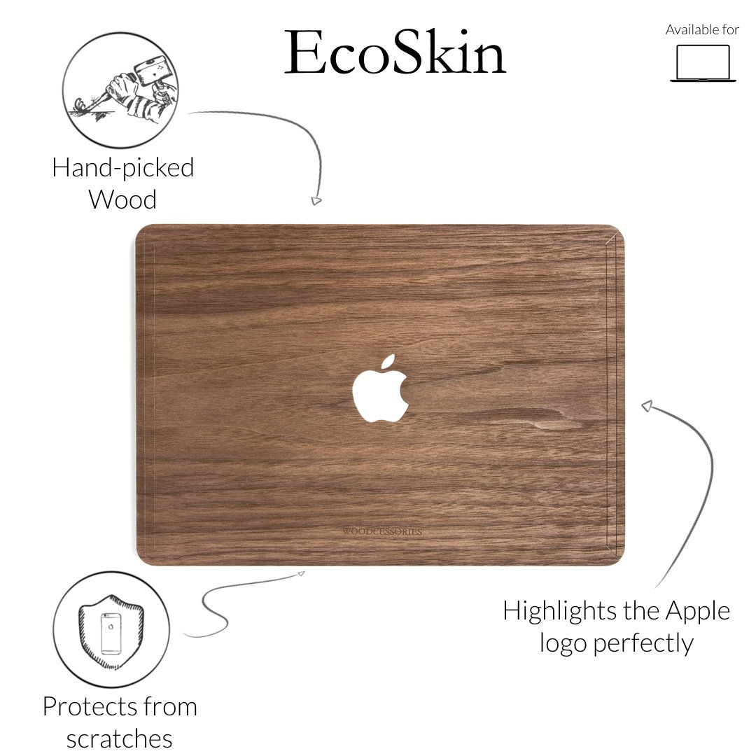 Woodcessories - Skin Compatible with MacBook 15 Pro Retina of Real Wood, EcoSkin (Walnut) by Woodcessories (Image #2)