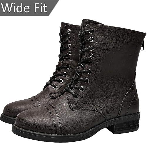 Amazoncom Aukusor Womens Wide Width Martin Boots Low Chunky