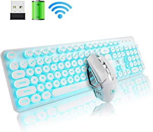 Rechargeable Keyboard and Mouse Combo Suspended Keycap Mechanical Feel Backlit 2.4G Wireless Gaming Keyboard & Mouse Adjustable Breathing Lamp for Laptop Computer and Mac (White Punk/Blue Light)