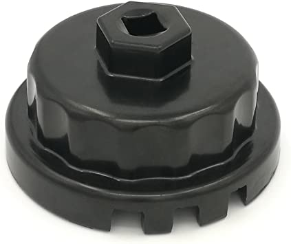 perfecto para Lexus // Camry // RAV4 y m/ás para Tundra Corolla Llave de filtro de aceite de Toyota con motores de 1,8 litros Herramienta de extracci/ón de filtro de aceite de tapa llave de vaso de aluminio de alta calidad 64 mm 14 ranura