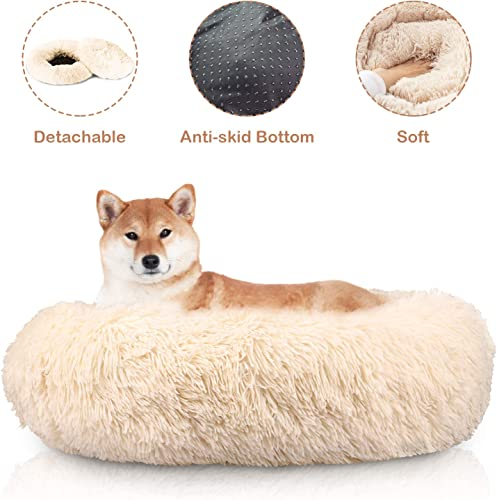 Docatgo Pet Bed 23X23 inches, Super Soft Dog Bed, Shag Faux Fur Bed Cushion for Cats Round