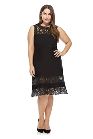 Newdeve Women Lace Black Formal Dresses Knee Length Plus Size (10)