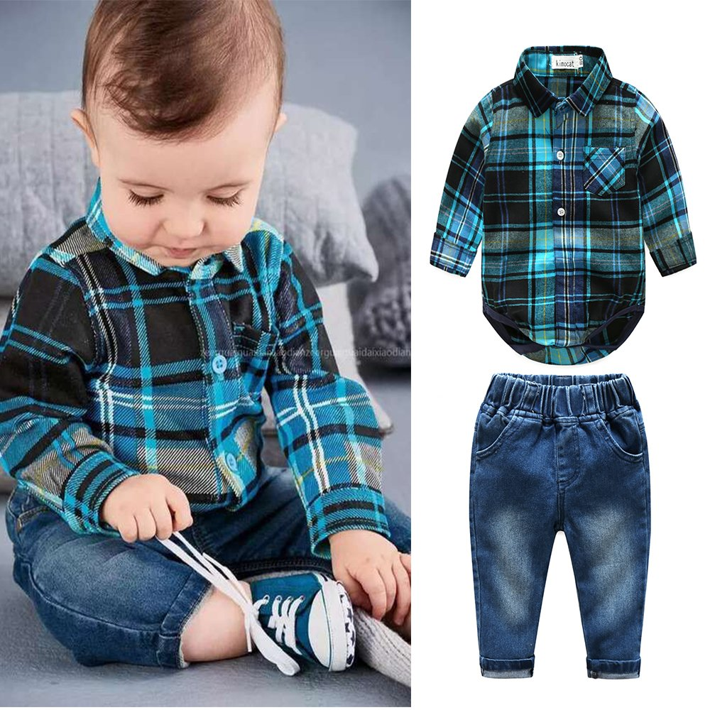 Kimocat Baby Boys Clothing Set Fashion Casual Suit Long Sleeve and Denim Pants (12-18month(90#)) by Kimocat (Image #2)