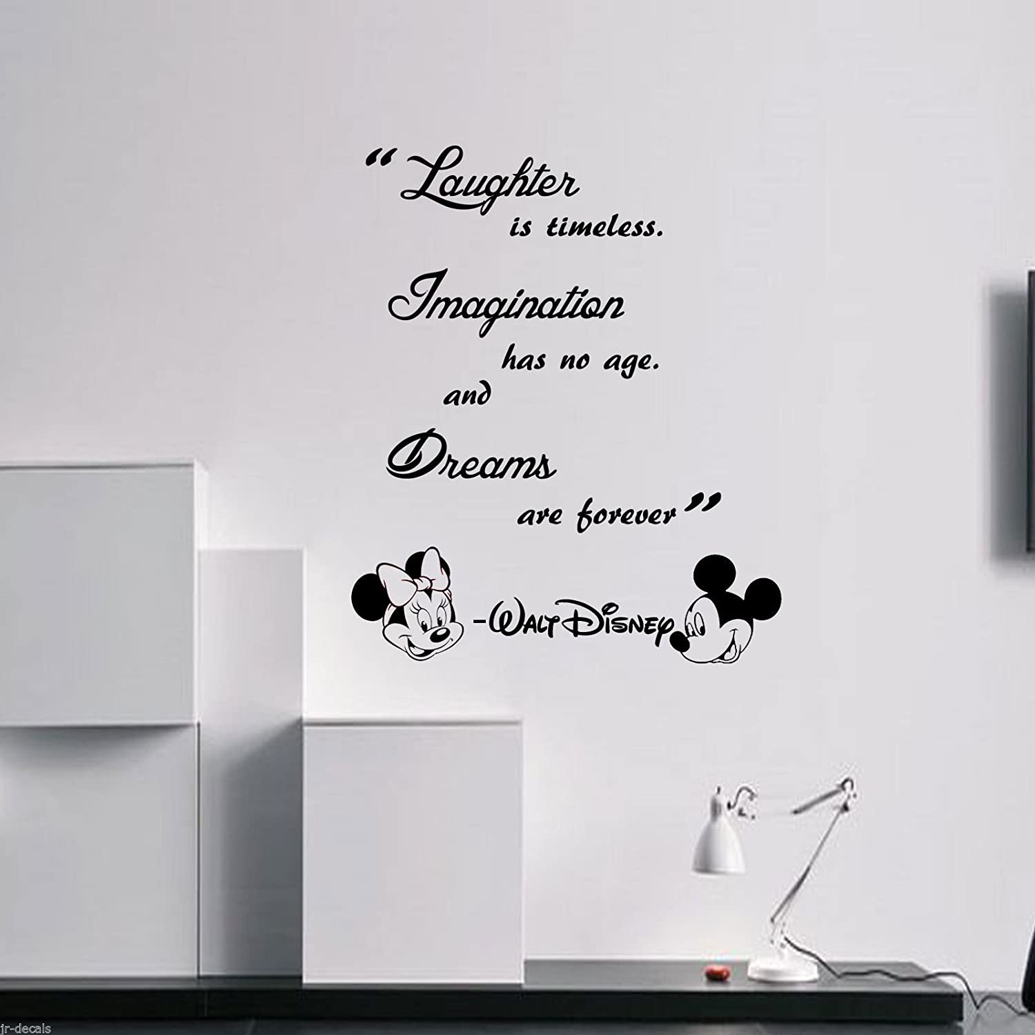 Laughter is timeless walt disney wall quote mickey minnie vinyl laughter is timeless walt disney wall quote mickey minnie vinyl decals removable wall stickers amazon handmade amipublicfo Choice Image