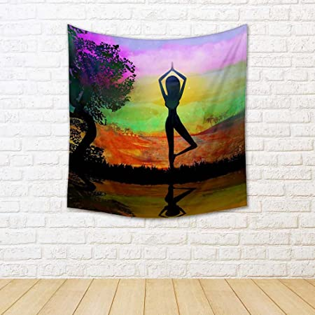ArtzFolio Girl In Yoga Pose Satin Tapestry Wall Hanging 37.2 ...