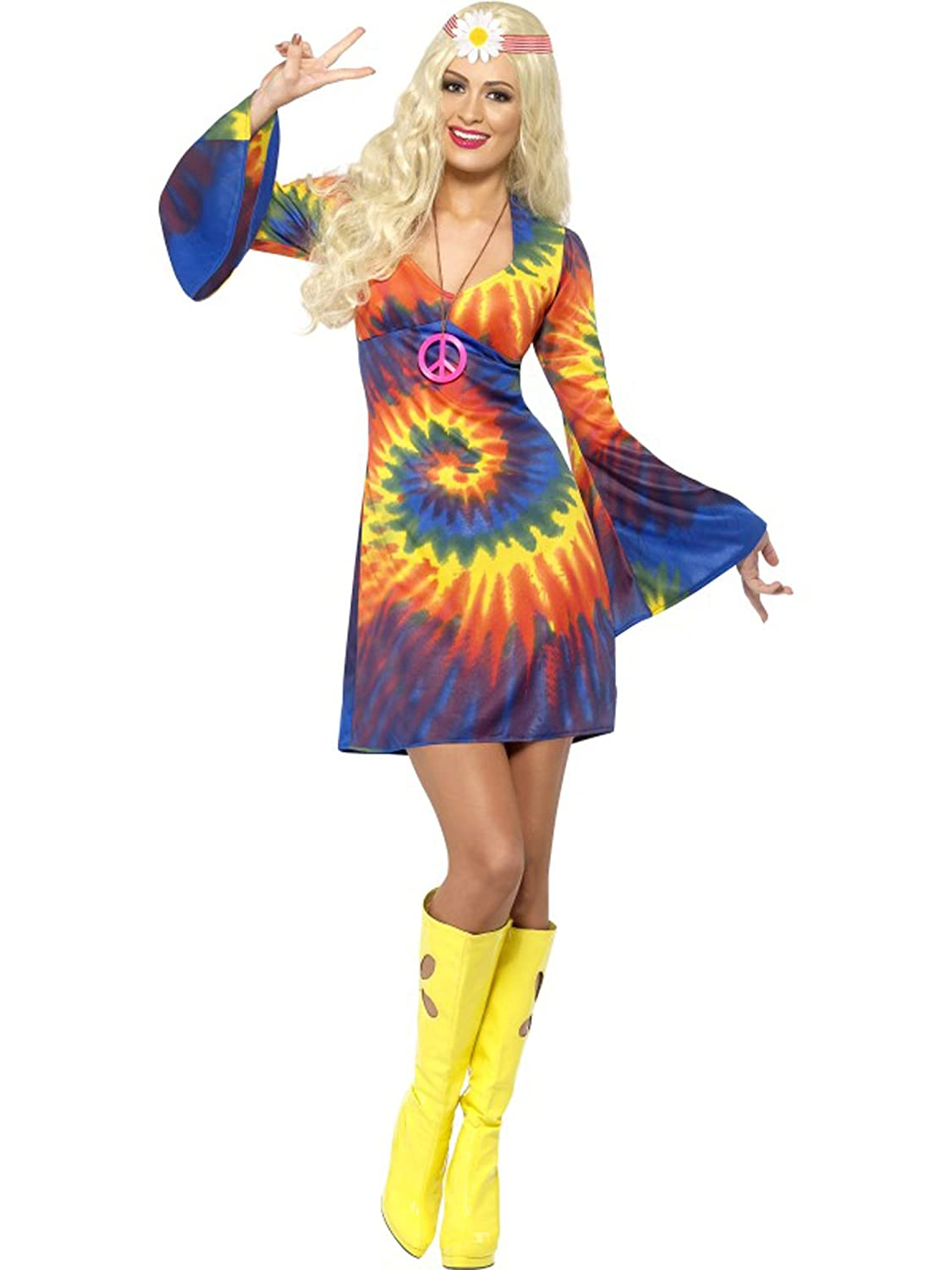 Hippie Costumes, Hippie Outfits 1960s Tie Dye Dress Costume $23.51 AT vintagedancer.com