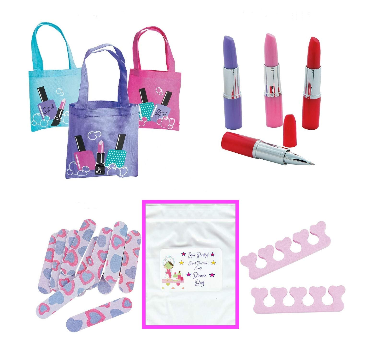 Multiple Girl's Spa Party Favors (12 Tote Bags, 12 Lipstick Tube Shaped Ink Pens, 24 Toe Separators, 12 Emery Boards) by Multiple (Image #1)