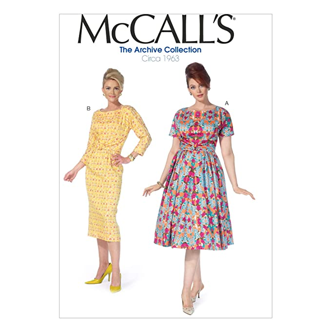 1950s Fabrics & Colors in Fashion McCalls Patterns M7086-RR0 Misses/Womens Dresses-18W-20W-22W-24W RR (18W-20W-22W-24W) $7.79 AT vintagedancer.com