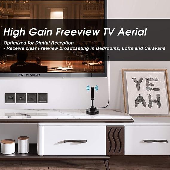 Antena TV Interior TDT HD Potente y Portátil – August DTA240 – Recepción en Televisión Decodificador TDT Radio Dab con Soporte Magnético - 2m de Cable
