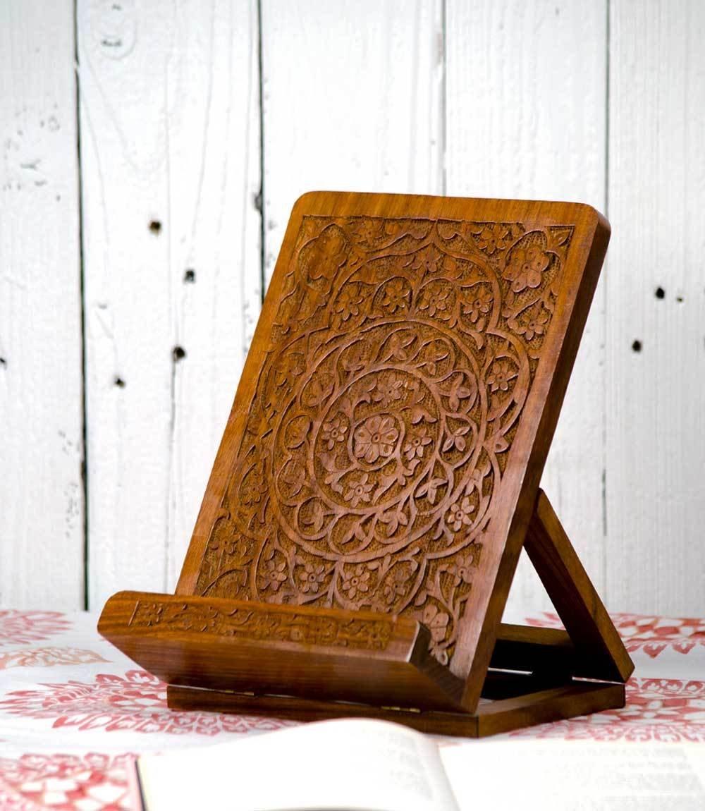 Hand-Carved Mandala Rosewood Cookbook Stand – Adjustable Foldable Reading Holder Kitchen Office Desk Workshop