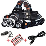 Topoint? 5000 Lumen High Power Led Headlamp Rechargeable 3CREE XM-L2 T6 Brightest Waterproof Head Flashlight Headlights Headtorch for Outdoor Camping Hiking Hunting Biking Running