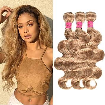 Amazon.com   Wome Hair Peruvian Virgin Remy Hair Bundles Pure Color Honey  Blonde 27  3 Bundles Body Wave Unprocessed Human Hair Weft(18 18 18 97fb5baeaa1b