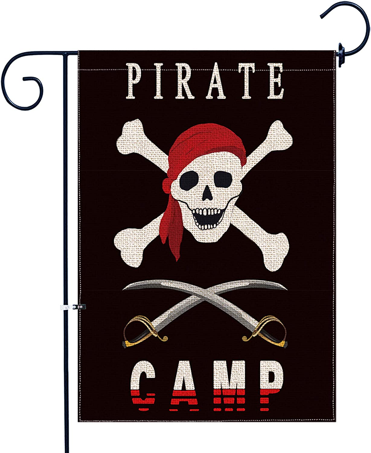 Bonsai Tree Burlap Pirate Spring Garden Flags 12x18 Prime Double-Sided Seasonal Yard Outdoor Decorative Flag Banner Stopper & Anti-Wind Clip