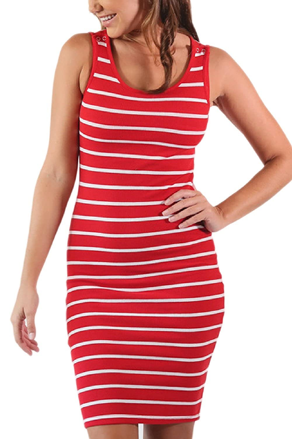 Yacun Womens Maternity Breastfeeding Nursing Dress Stripes Sleeveless CAYC60402