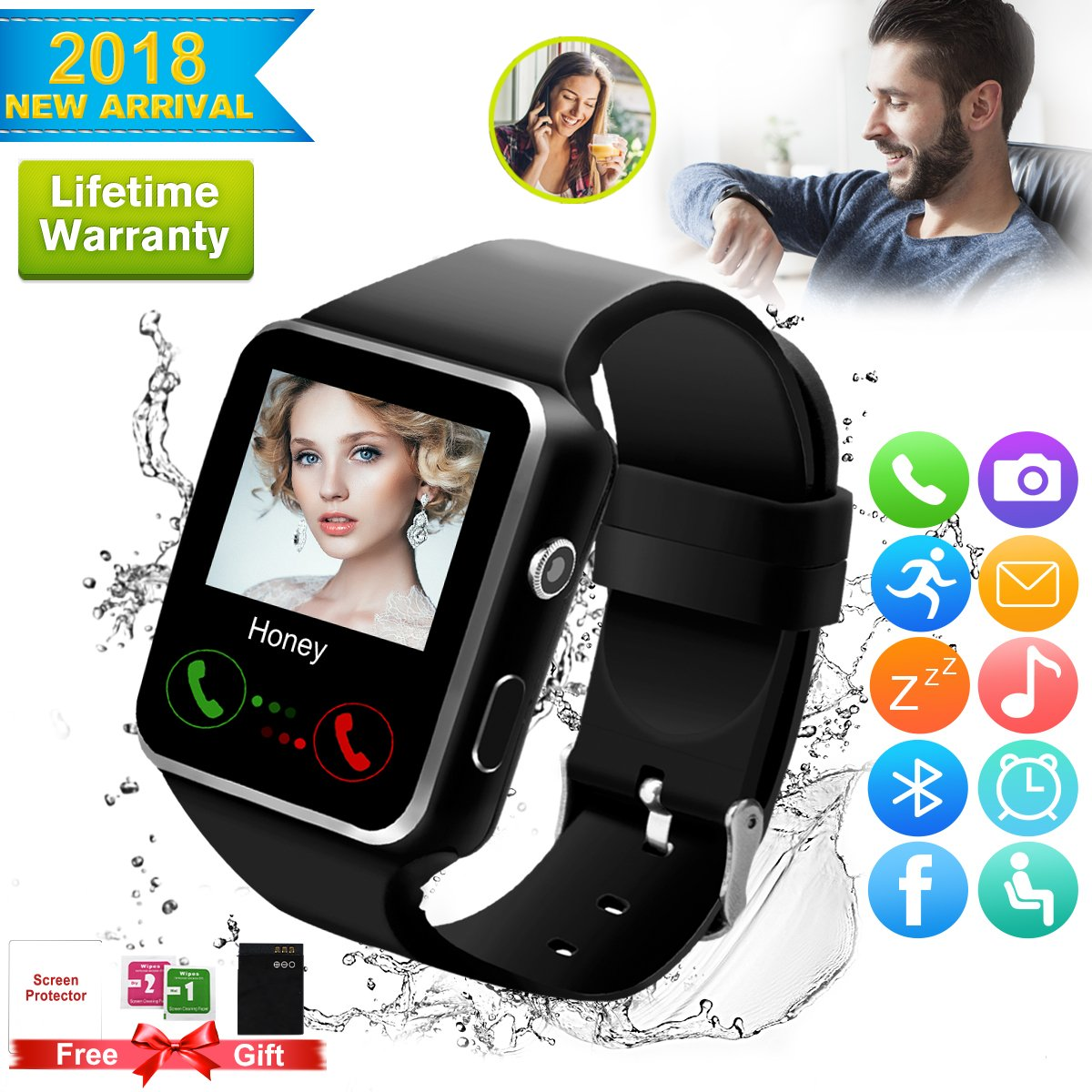 2018 Bluetooth Smart Watch for Andriod phones, iphone Smartwatch with Camera,Waterpfoof Watch Cell Phone ,Smart Wrist Watch Touchscreen for Android Samsung IOS Iphone X 87 6 5 Plus Men Women Youth