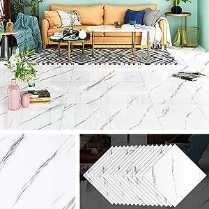 Livelynine Linoleum Flooring Peel and Stick Tile Adhesive White and Black Marble Vinyl Floor Tile Stickers Waterproof Vinyl Tiles for Kitchen Bedroom Bathroom Kids Room 12x12 Inch 32 Pack
