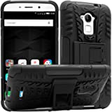 DMG Mesh Kickstand Rugged Hard Armor Hybrid Bumper Back Case Cover for Coolpad Note 3 Plus (Black)