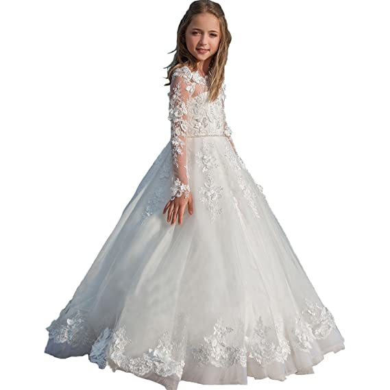 Carnivalprom Flower Girl Dresses Long Sleeves Princess Lace Pageant