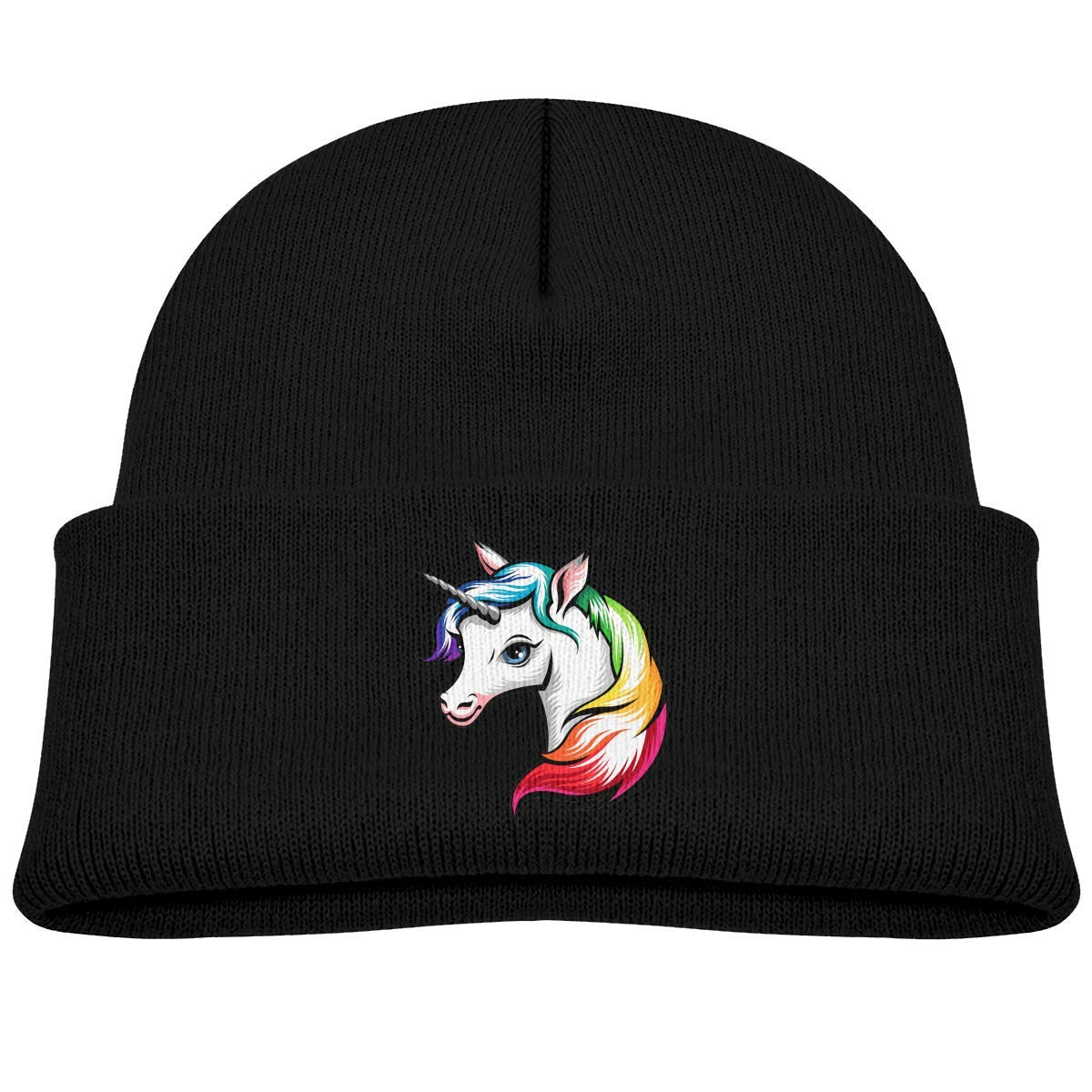 307bc53364c Amazon.com  Kids Knitted Beanies Hat I m Magical Rainbow Unicorn Winter Hat  Knitted Skull Cap for Boys Girls Black  Clothing