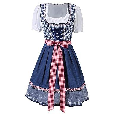 Vestido de Dirndl Disfraz para Mujer Traje Tradicional de Tirolesa para Fiesta de Cerveza Alemana de Oktoberfest Carnevale Festival Cosplay