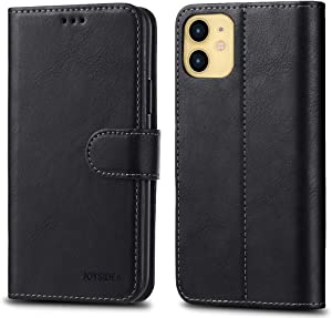 JOYSIDEA iPhone 11 Leather Wallet Case [RoHS Compliant Safe] Premium Slim Flip Folio Case with Card Holder, Kickstand and Shockproof TPU Cover for iPhone 11 6.1 inch, Black