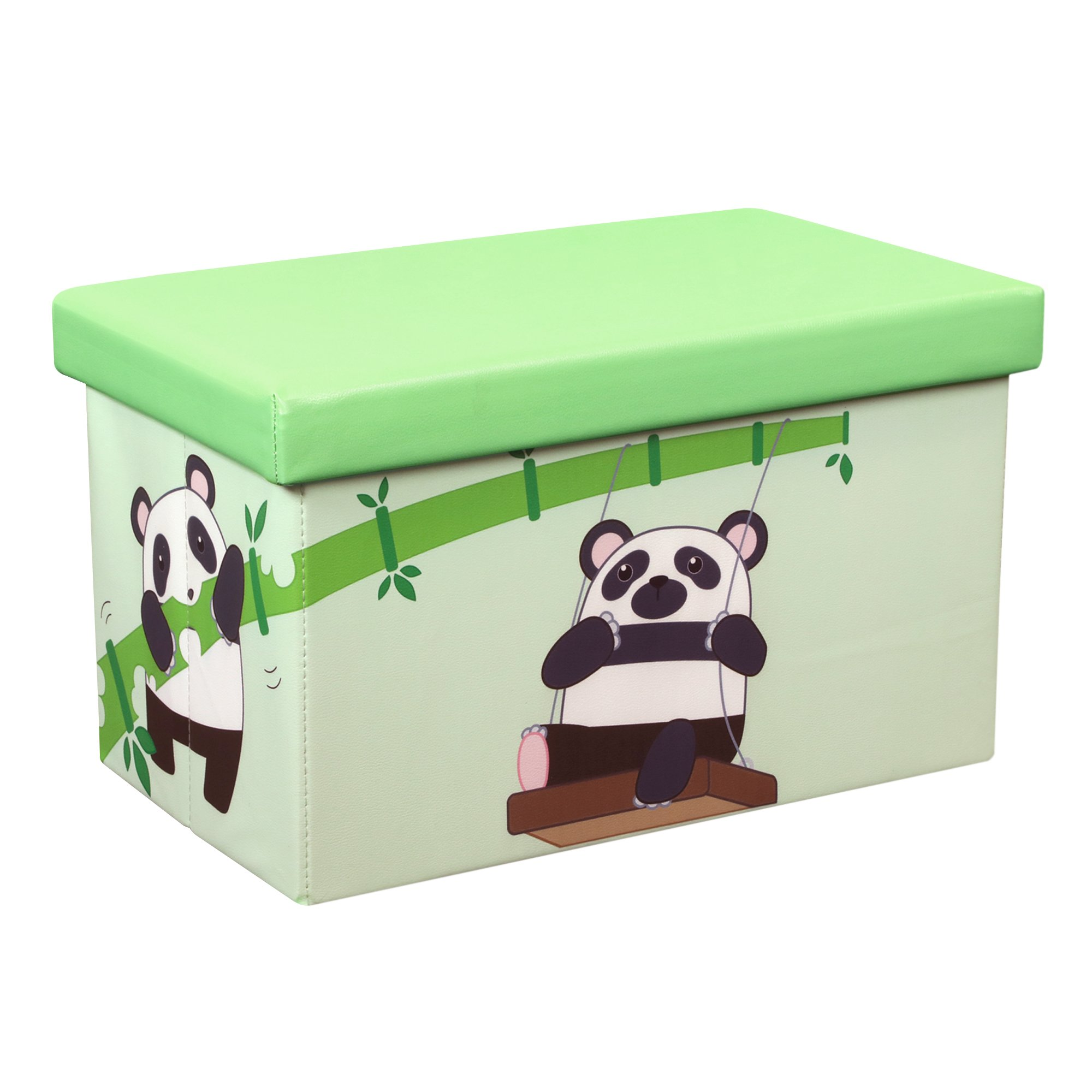 Otto & Ben 20'' Toy Box - Folding Storage Ottoman Chest with Foam Cushion Seat, Washable Faux Leather Foot Rest Stools for Kids, Panda and Bamboo