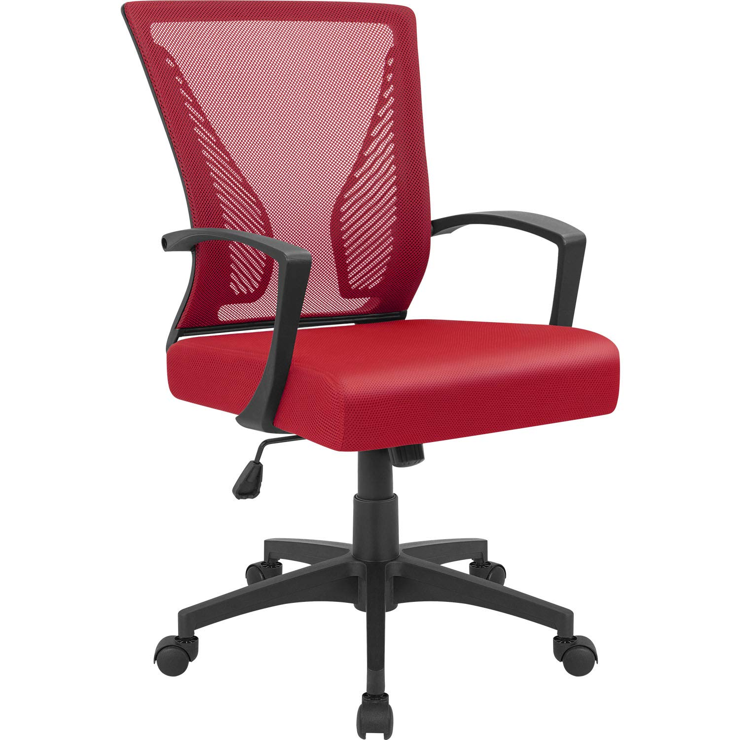 Furmax Office Chair Mid Back Swivel Lumbar Support Desk Chair, Computer Ergonomic Mesh Chair with Armrest (Red)