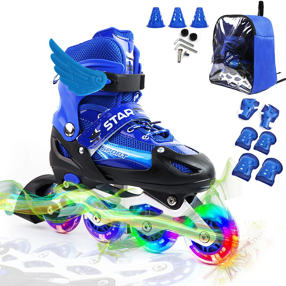 PETUOL Kids Adjustable Inline Skates, Safe and Durable Fitness Roller Skates with Free Knee Elbow Pads for Boys 4 5 6 7 8 9 10- All Wheels Light Up