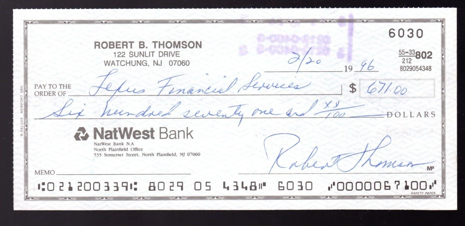 Bobby Thomson Autographed Cancelled Bank Check NY Giants