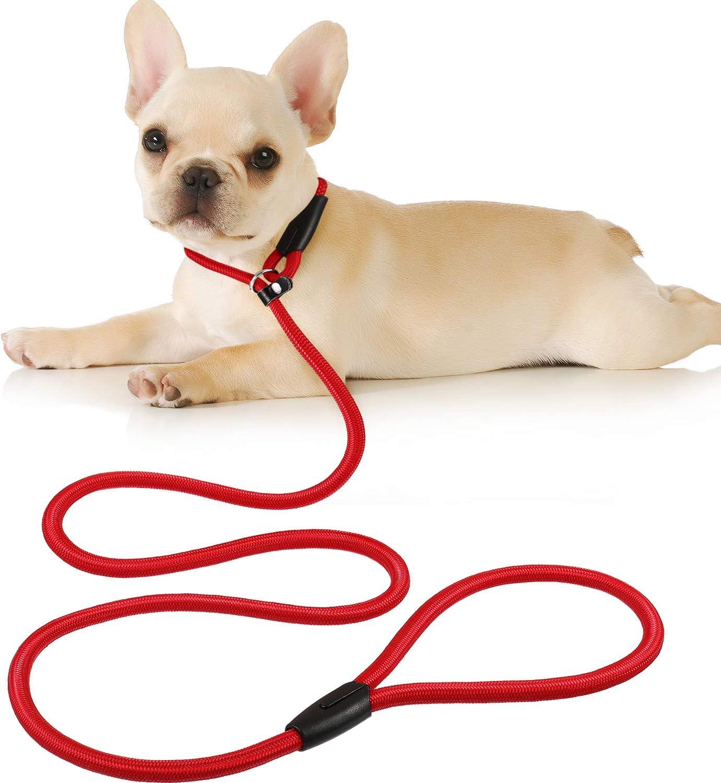 Cuerda de Correa Ajustable de Nylon de Plomo de Perro Correa de Entrenamiento de Mascotas Cuerda de Collar de antideslizantepara Caminar Entrenamiento Mascotas 1,5 m (Rojo)