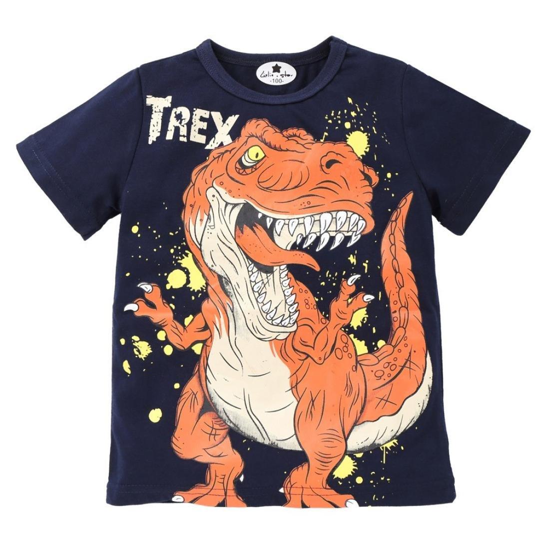 2681ea71896 Amazon.com  Todaies Toddler Kids Baby Boys Dinosaur Print Clothes Short  Sleeve Tops T-Shirt Blouse 2018 (3T