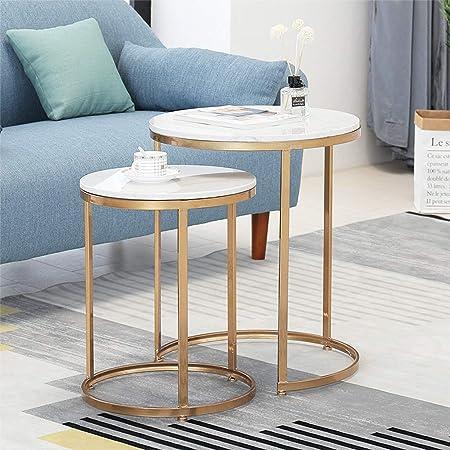 Set di 2 tavolini impilabili per Soggiorno, tavolini Rotondi ...