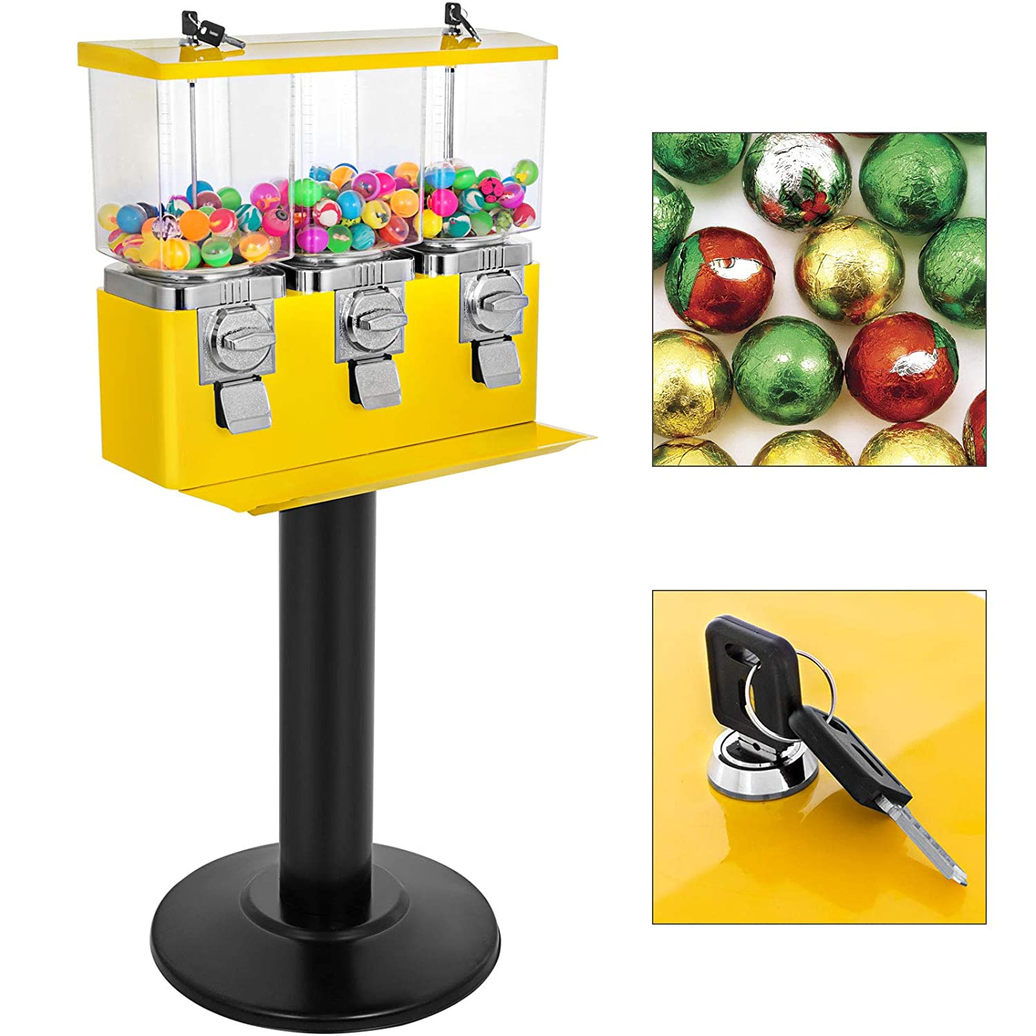 VBENLEM Triple Head Candy Vending Machine 3 Containers with Stand Gumball Vending Machine Adjustable Candy Outlet Size 1 Adjustable Candy Pod & 2 Gumball Pod Gumball Bank