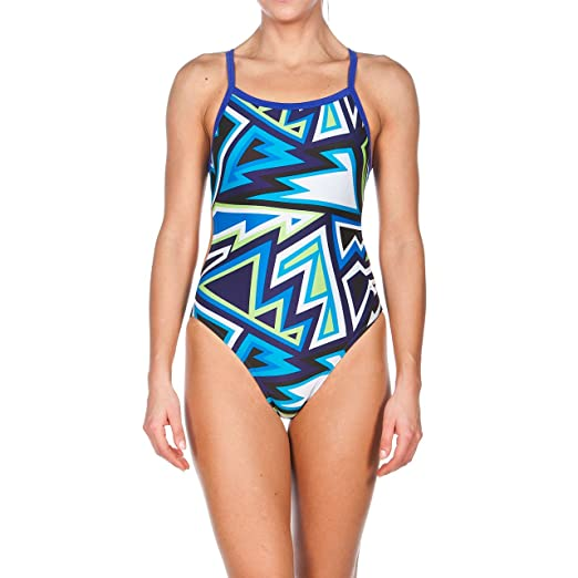 138f9f509028a Arena Women's Tulum Challenge Back One Piece Swimsuit, Danube/Blue, ...