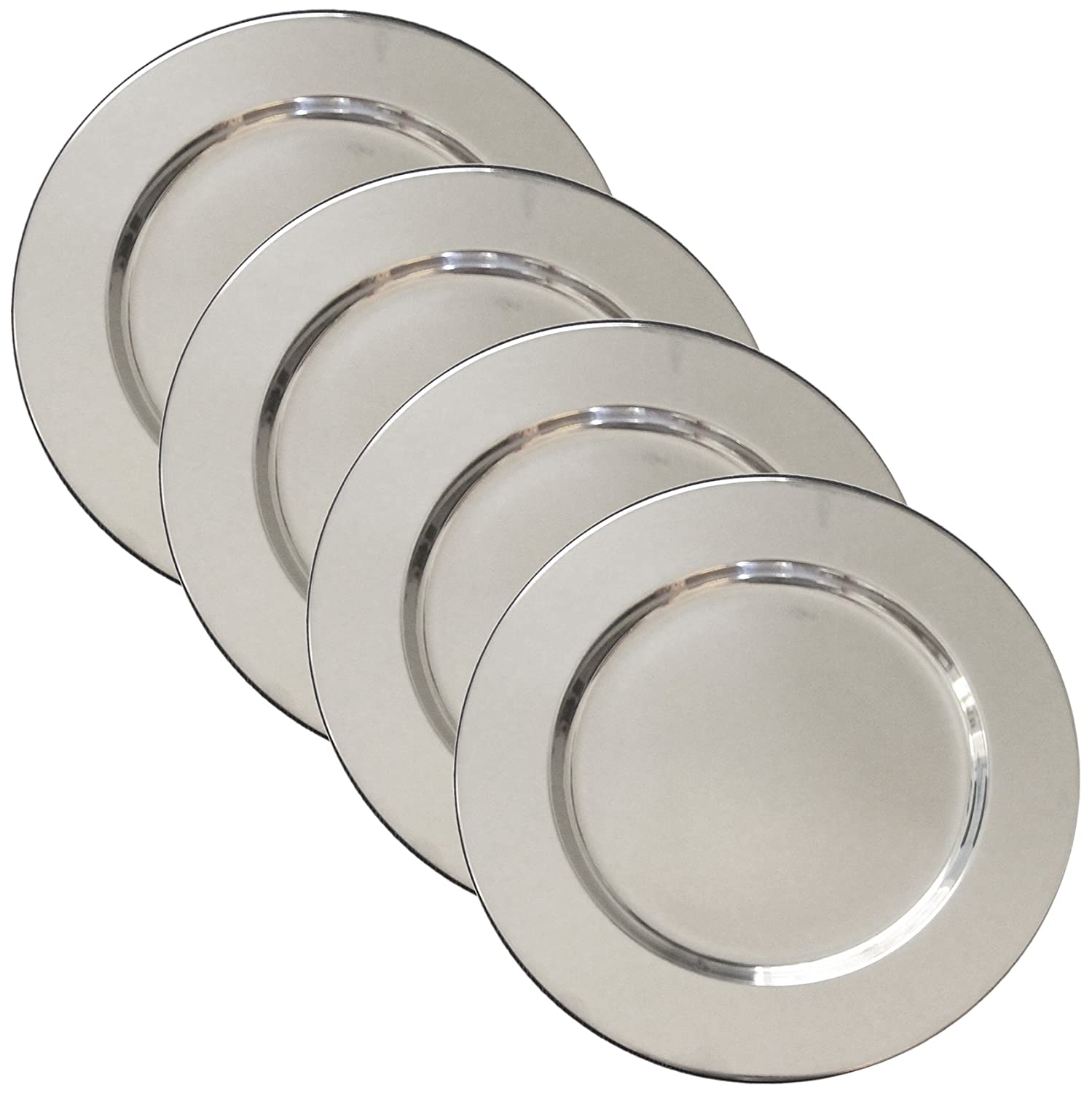 Set of 4 Stainless Steel Charger Plates - Handmade 12
