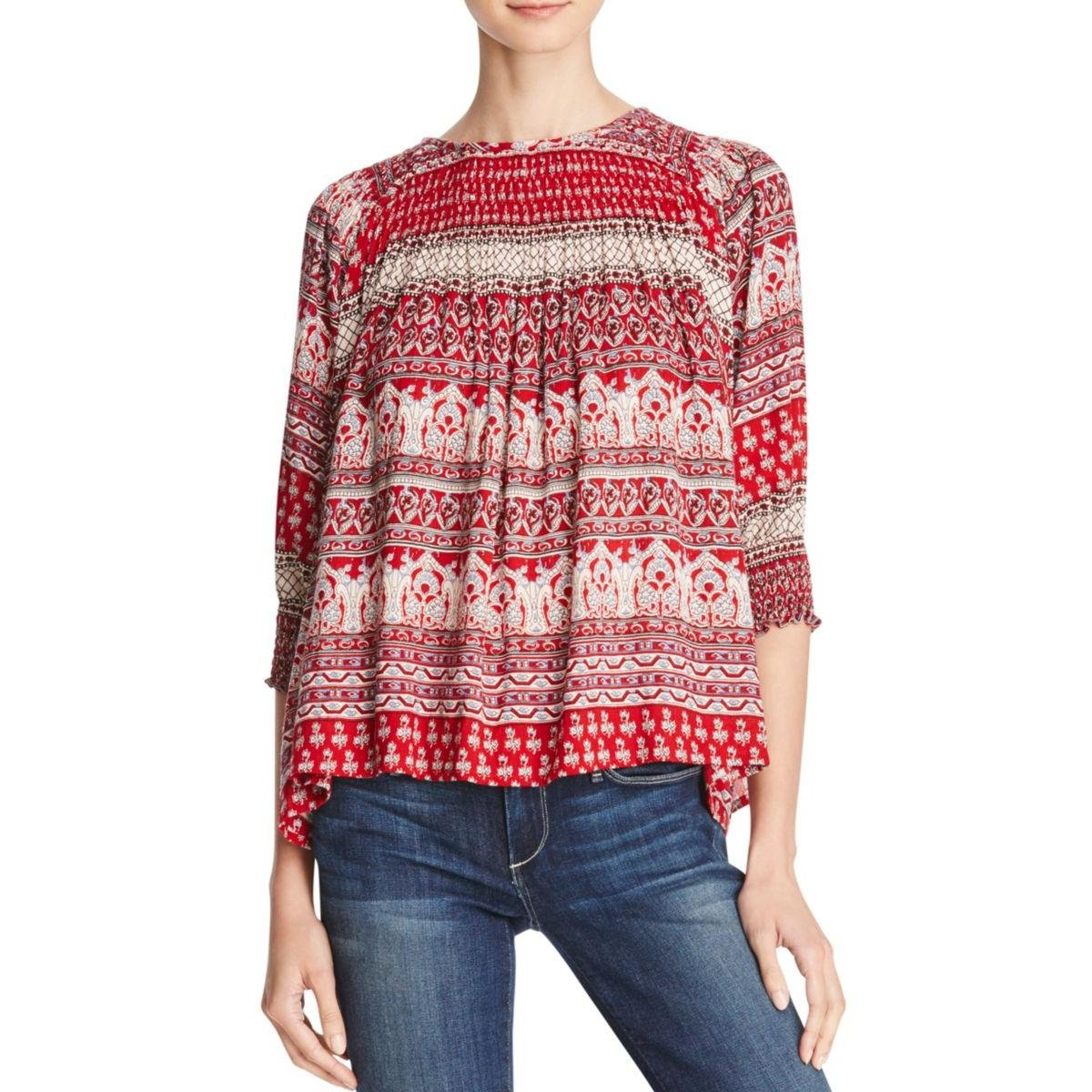 Love Sam Womens Smocked Printed Pullover Top Red S by Love Sam (Image #1)