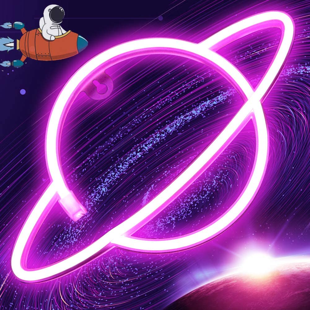 Pink Planet Neon Signs Led Neon Wall Sign Pink Neon Lights Hanging Planet Neon Light for Bedroom Kids Neon Signs Wall Decor Battery or USB Operated