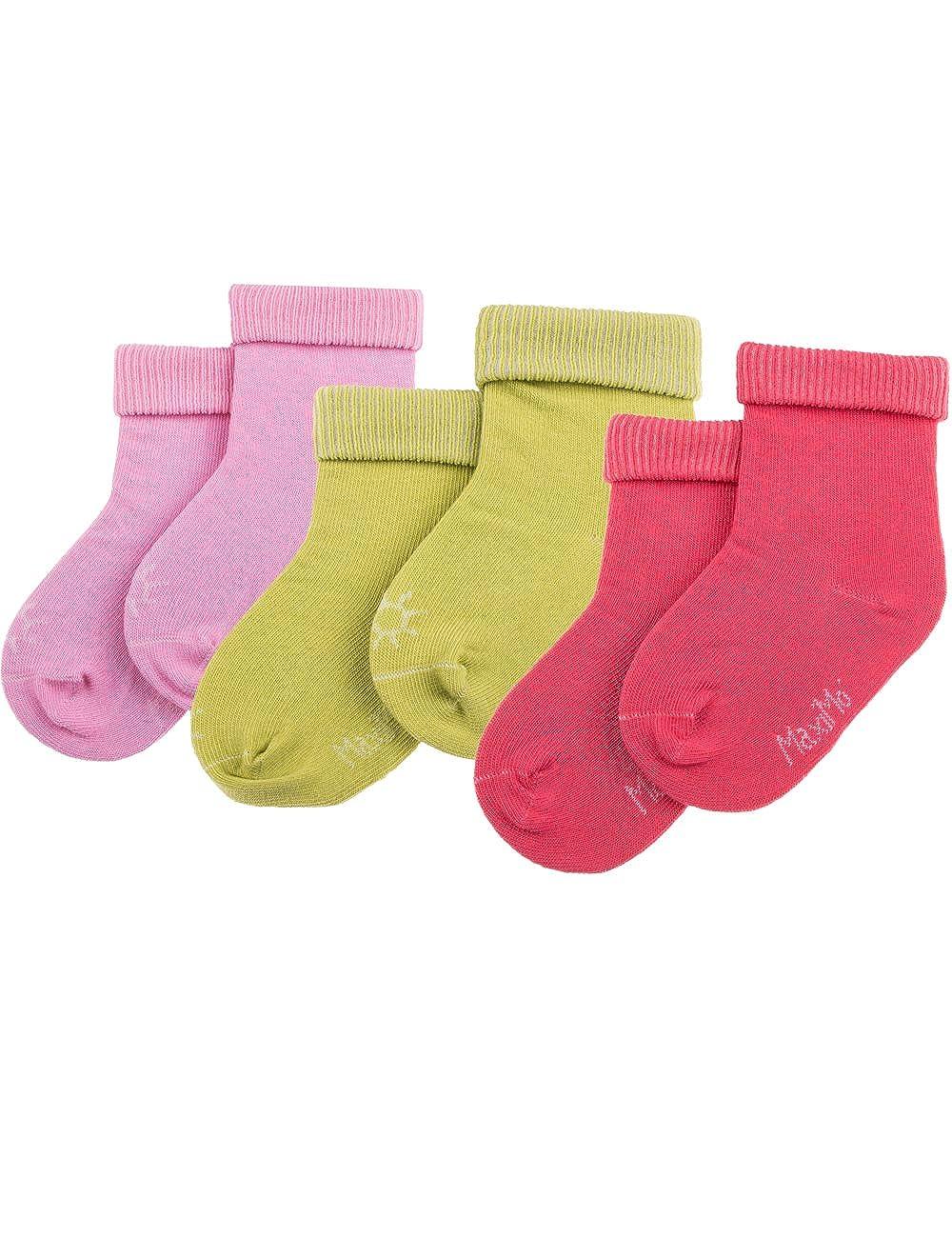 maximo Babysocke mit Umschlagrand, 3er Pack, uni, Mädchen - Chaussettes - Uni - Bébé fille 55830-195515