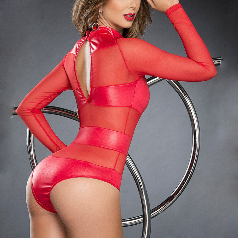 LANSKIRT lencería Las Mujeres de imitación de Cuero Mojado Look Sexy Backless Mini Vestido del Falda del sueño del Uniforme del Club Conjunto de Ropa: ...