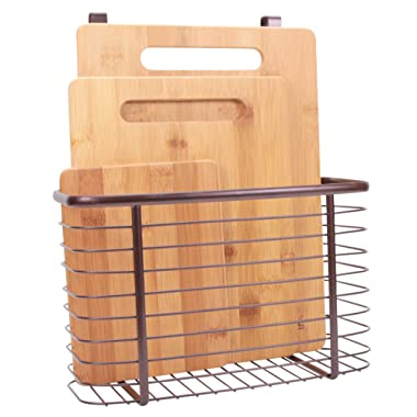 3-Piece Bamboo Cutting Board Set PLUS Hanging Basket - Hang Over Cupboard, Cabinet or Drawer - Stainless Steel Wire Organizer in Bronze - Anti-bacterial Organic Chopping Boards - Kitchen Storage