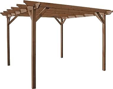 Pérgola de estructura de madera para jardín, 3 m x 3 m, color marrón rústico, vigas talladas: Amazon.es: Jardín