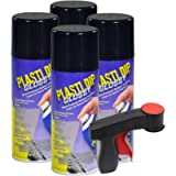 Plasti Dip Glossy Black Rim Kit, 11 oz Aerosol, Pack of 4 cans with Bonus Cangun Tool - Combines Both Color Coat and…