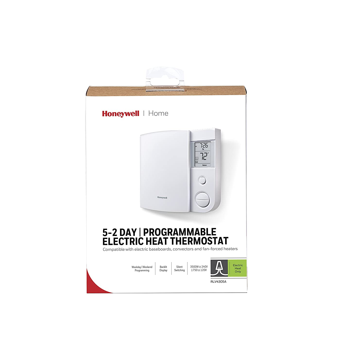 Honeywell Rlv4305a1000 E1 E 5 2 Day Programmable Wiring Electric Baseboard Heaters Thermostat 240 V 1 Deg F Household Thermostats