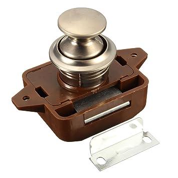 Push Button - Pestillo para puerta de armario sin llave, cerradura de pestillo para caravana de motor RV: Amazon.es: Hogar