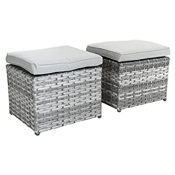 Superbe Charles Bentley Milano Premium Pair Of Rattan Footstools With Cushions  Seating Outdoor Garden Furniture   Light
