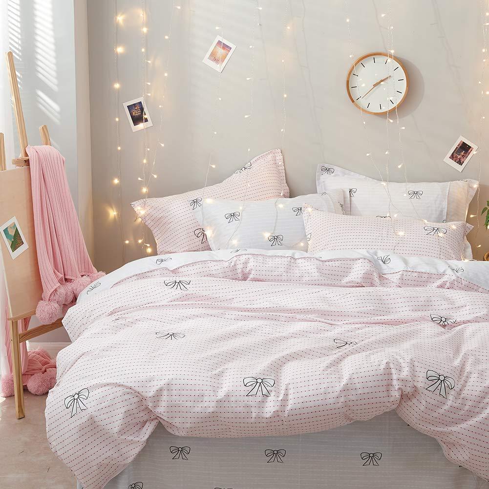 SCM Bettw/äsche 135x200cm Rosa Schleife 100/% Baumwolle 2-teilig Bettbezug /& Kissenbezug 80x80cm Punkte Gestreift Geometrisch Ideal f/ür Schlafzimmer Bowknot