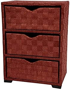 Oriental Furniture Natural Fiber Chest of Drawers - Three Drawer - Mahogany