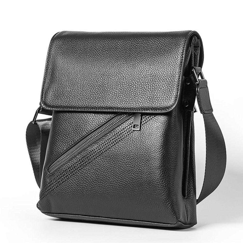 Men's Casual Bag Leather Crossbody Bag Shoulder Bag Leather Briefcase Vertical Backpack,Black