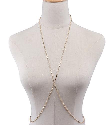 ad29b2cdfa3bdf Amazon.com  HUSUP Women Harness Body X Chain Bikini Chain Crossover Belly  Waist Chain  Jewelry