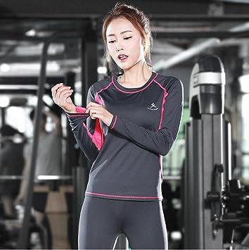 HJMTRY Pantalones de secado rápido Ropa de fitness de manga larga Traje de 2 piezas para
